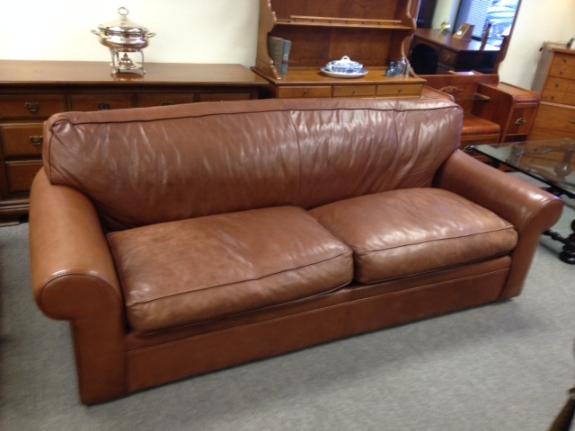 beautiful ralph lauren by henredon feather filled leather sofa couch